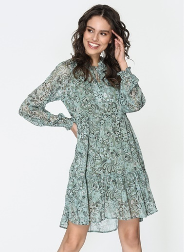 Loves You Desenli Kesik Detaylı Şifon Elbise Yeşil